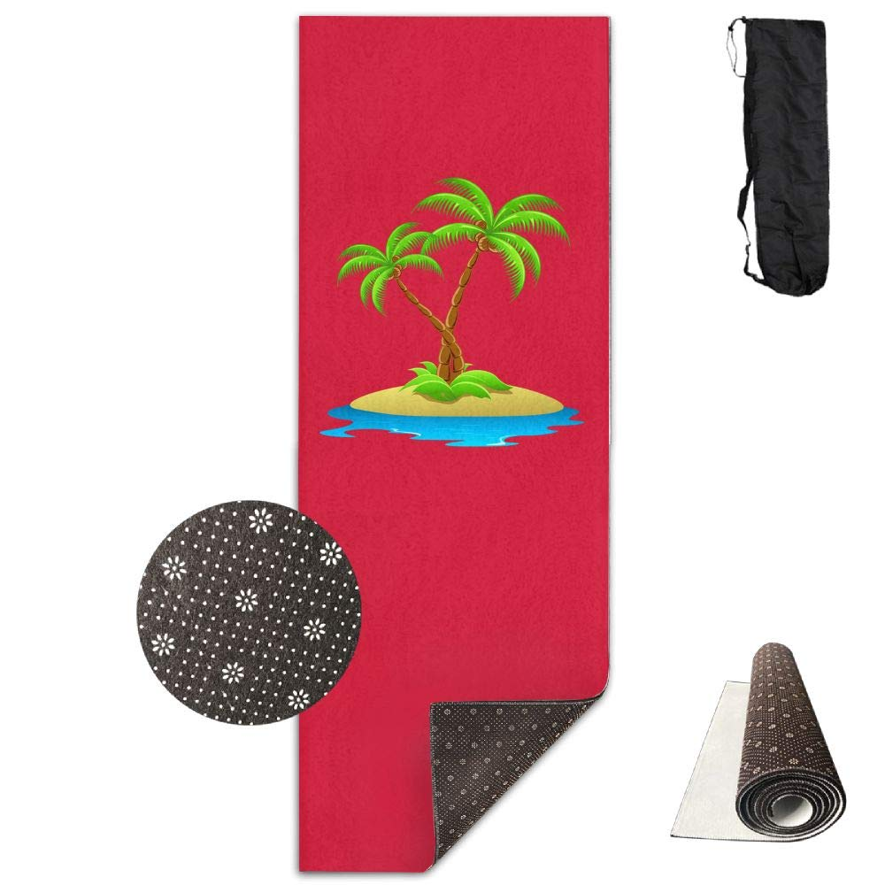 Bghnifs 3D Palm Tree -Red Printed Design Yoga Mat Extra Thick Exercise & Fitness Mat Fit Yoga,Pilates,Core Exercises,Floor Exercises,Floor Exercises