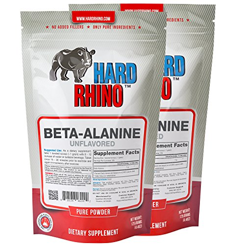 Hard Rhino Beta-Alanine Powder, 250 Grams (8.8 Oz), Unflavored, Lab-Tested, Scoop Included