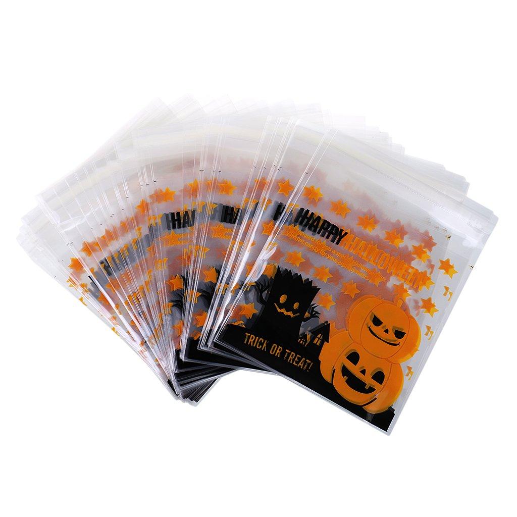 MagiDeal 100pcs Halloween Gelber Kürbis Süße Cello Cellophanbeutel ...