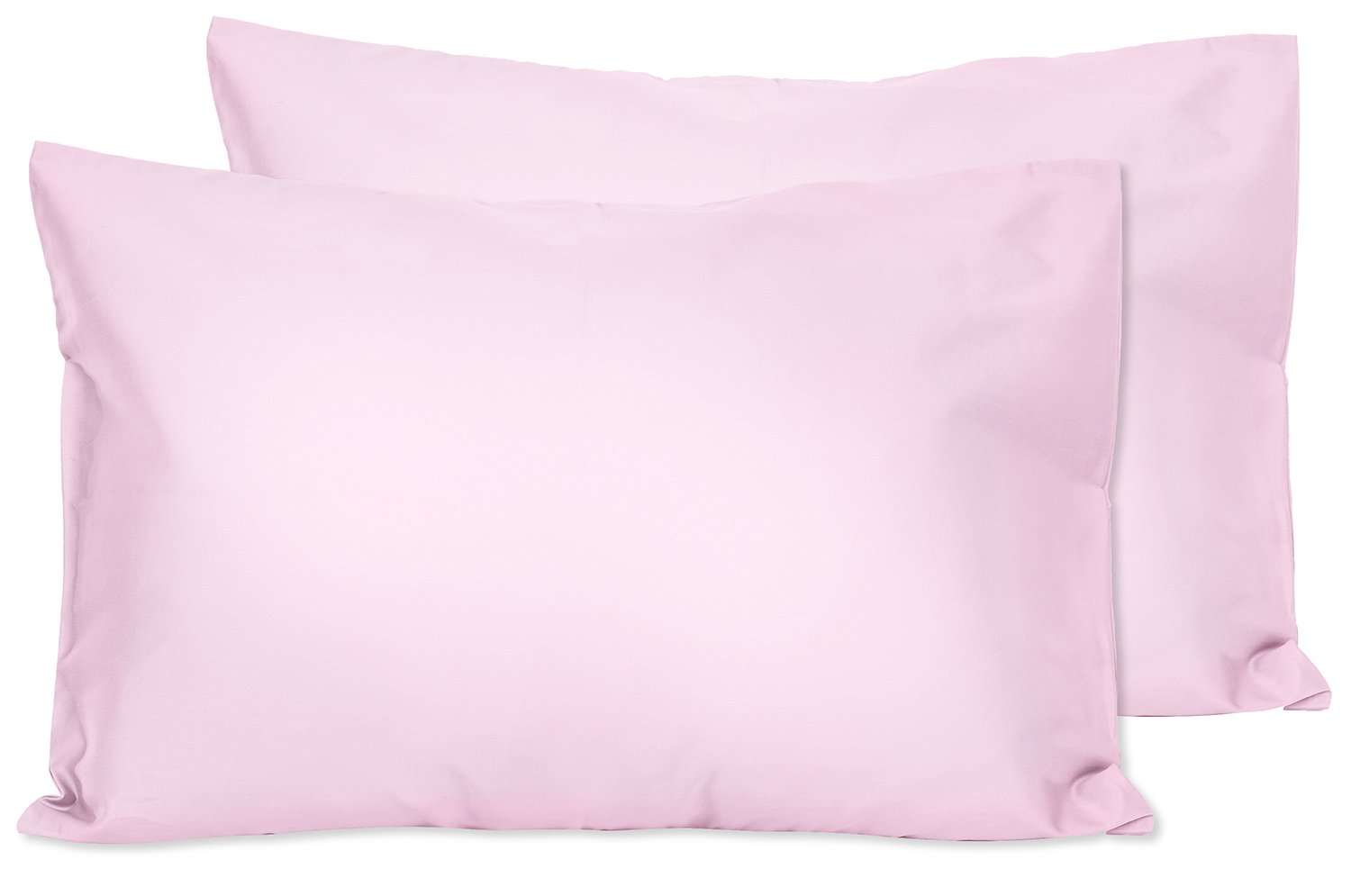 2 Light Pink Toddler Pillowcases - Envelope Style - For Pillows Sized 13x18 and 14x19 - 100% Cotton With Percale Weave - Machine Washable - 2 Pack