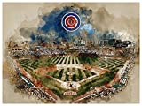 Chicago Cubs Poster Watercolor Art Print 12x16 Wall Decor