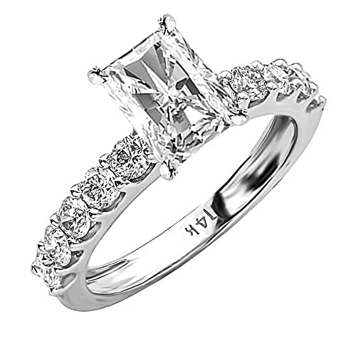 1.9 Cttw 14K White Gold Radiant Cut Classic Side Stone Prong Set Diamond Engagement Ring with a 1 Carat H-I Color SI2-I1 Clarity Center