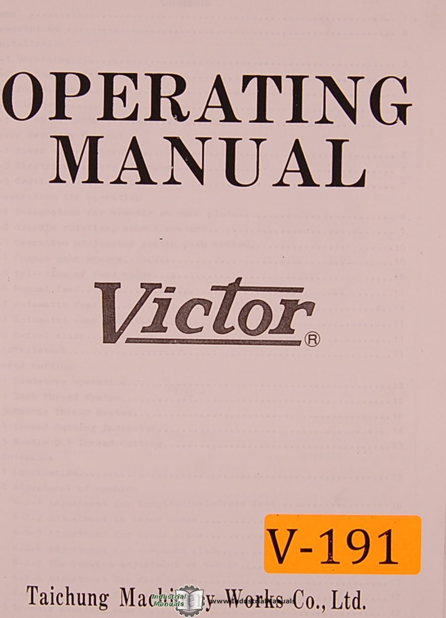 Victor 1640, 1660 1680 2040 2060 2080, Lathe Operations and Parts Manual:  Victor: Amazon.com: Books