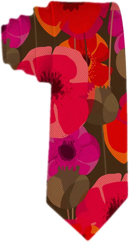 Corbata de seda clásica tejida para hombres Corbata de seda Flores de amapola y cuadros de semillas Corbatas