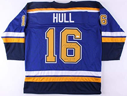 low priced ecff7 eb099 Brett Hull Autographed Signed St. Louis Blues Blue Jersey ...
