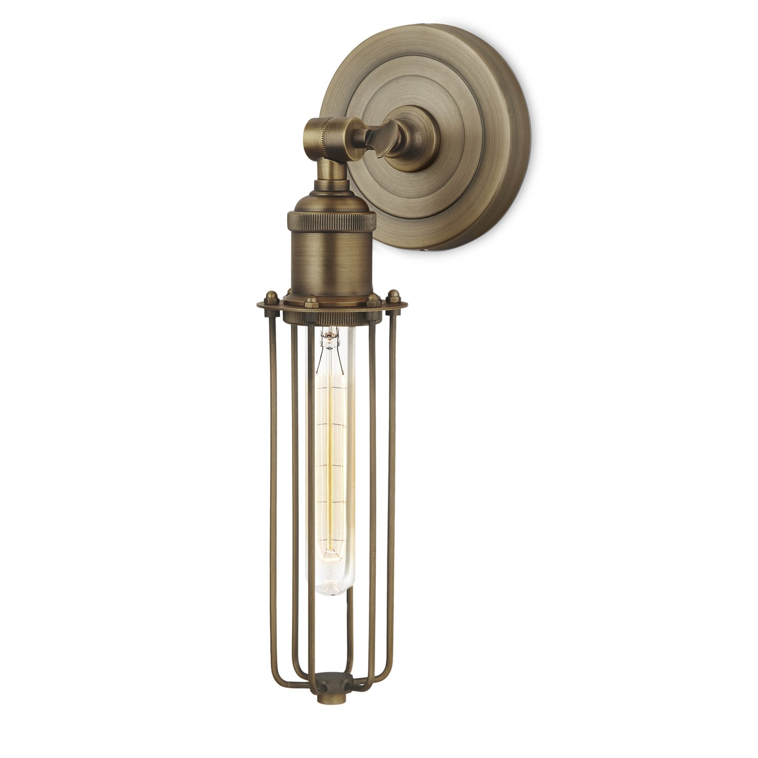 Bronze Wall Sconce Light Fixture - Cage Lamp with Edison Style Vintage Bulb, Dimmable, Brooklyn Bulb Co. Clifton Design, ETL Listed