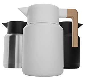 Large Thermal Coffee Carafe - Stainless Steel, Double Walled Thermal Pots For Coffee and Teas by Hastings Collective - White, Vacuum Carafes With Removable Tea Infuser and Strainer | 50 Oz.