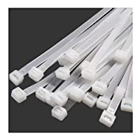 """10"""" Inch Zip Ties White (100 Pack), 40lb Strength, Nylon Cable Wire Ties, 250mm x 8mmStrong Self-Locking Zip Ties Nylon…"""