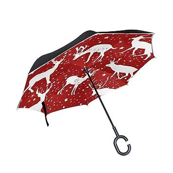 BENNIGIRY Paraguas invertido Sika Deer - Reverso Plegable en el Interior hacia Abajo - Paraguas Impermeable