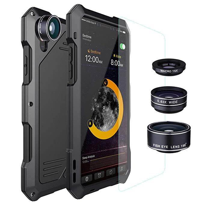 newest d9b3e 58a0b iPhone Xs Max Lens Kit Case, SHEROX - 3 in 1 198° Fisheye Lens + 15X Macro  Lens + Wide Angle Lens with IP54 Dustproof Shockproof Aluminum Case with ...