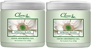 Clear Air Odor Absorber Gel - Odor Eliminator & Air Freshener - Made with Natural Essential Oils - 2 Pack (2 x 15 OZ) (Spring Rain)