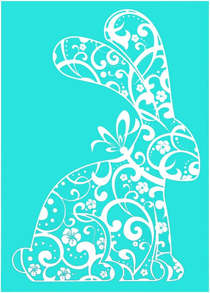 YeulionCraft Easter Theme Self-Adhesive Silk Screen Stencils Mesh Transfers Reusable Sign Stencils DIY Festival Painting on Wood Home Decor Some Bunny Loves You