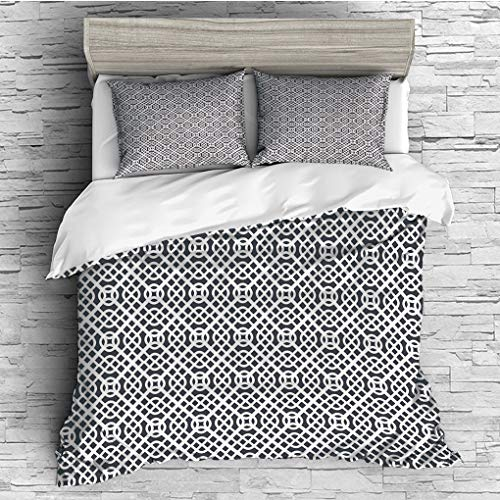 ver 2 Pillow Shams)/All Seasons/Home Comforter Bedding Sets Duvet Cover Sets for Adult Kids/Double/Geometric,Curved Diagonal Lines with Complex Monochrome Design Vintage Inspiratio ()