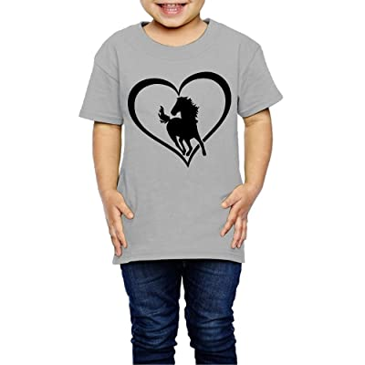 TOLDER-AW2 Galloping Horse With Heart Baby Girl T-Shirt (2-6 Years)
