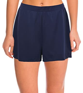 d9765dc642b38 Septangle Damen Einfarbig Schwimmshorts Große Größen Strand Shorts  Bikinihose, Marine Blau Gr.- EU
