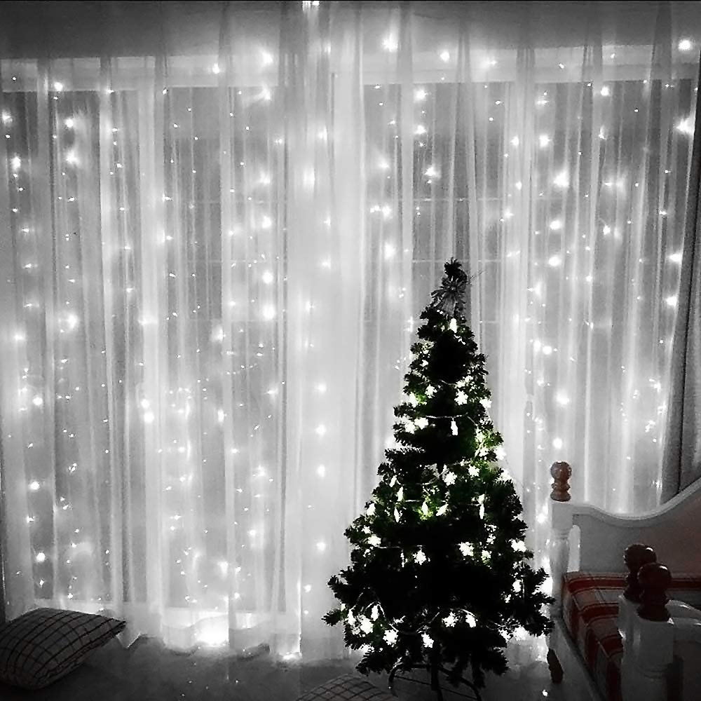 JESLED LED Window Curtain Lights, 300 LEDs Curtain Icicle String Lights for Wedding Party, White, 9.8ft x 9.8ft/3M x 3M, 8 Modes Setting, Home Garden Bedroom Outdoor Indoor Wall Backdrop Decorations