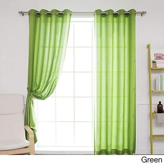 Juego de 2 cortinas de color verde, diseño de pérgola al aire ...