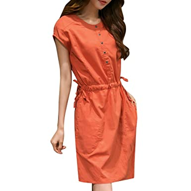 Vestido Mujer Elegante Largo Vestido Largo Fiesta Moda Mujer Manga Corta o Cuello Bolsillo algodón Lino Suelta Vestido Informal Casual Vestido Corto Túnica ...