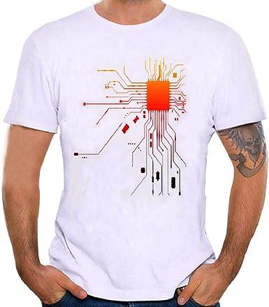 Camisetas Hombre Manga Corta, SHOBDW Camiseta De Impresión Camisa Linda Suelta Blusa De Manga Corta Tamaño Más Grande Cuello Redondo Sólido Camiseta Blanca para Hombre: Amazon.es: Ropa y accesorios
