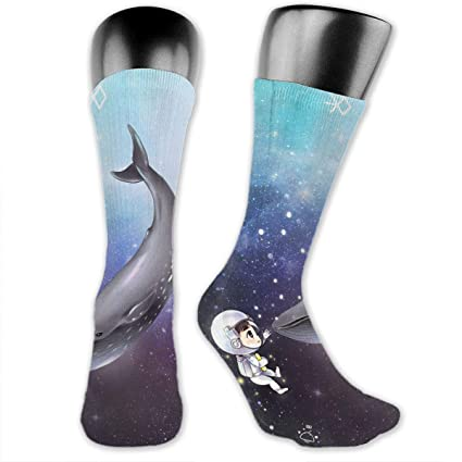 96d4ef19e Amazon.com  SARA NELL Men   Women Classics Crew Socks Boy Astronaut Play  with Whale in The Galaxy Thick Warm Cotton Crew Winter Socks Personalized  Gift ...