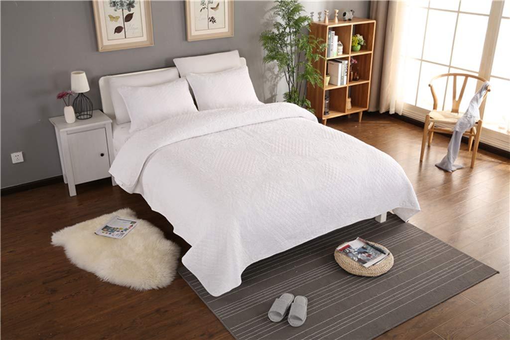 キルトベッドスプレッド 100%コットン 3ピース ハンドパッチワーク 花刺繍 ベッドカバー ダブルキングサイズ ツイン ホワイト 285-862 B07L48Z23J ホワイト