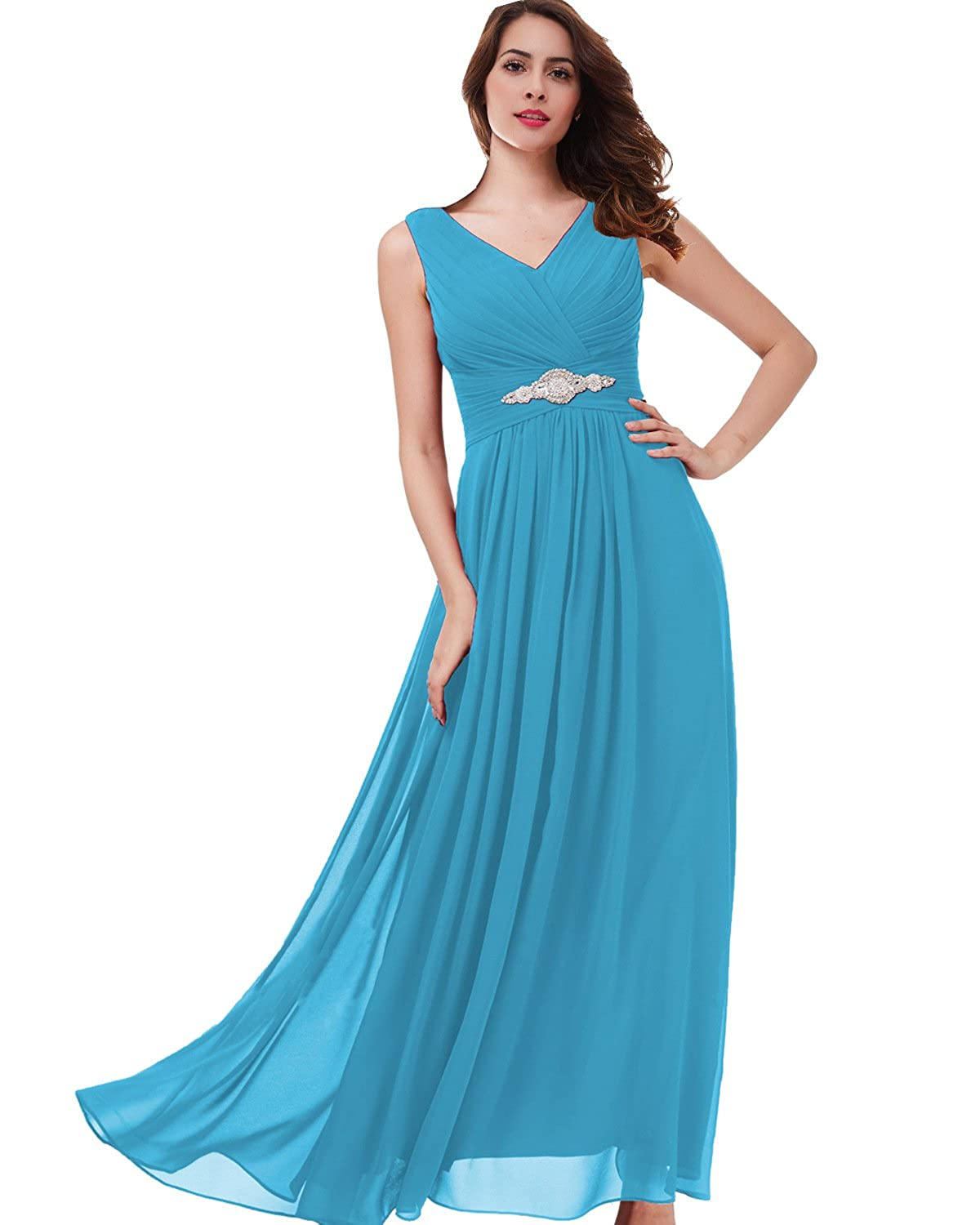 4c42471daa1 Lily Wedding Womens Beaded V Neck Bridesmaid Prom Dresses 2018 Long Formal  Evening Party Gowns TB51 at Amazon Women s Clothing store