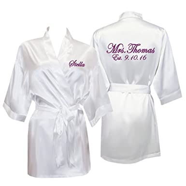 Personalized Mrs. Satin Bridal Robe with Name and Title - White at ... 583410789