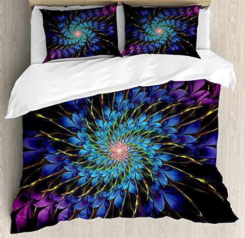 Ambesonne Trippy Duvet Cover Set Queen Size, Vivid Color Petals Arranged in Vortex Abstract Swirling Image Mindbending Shape, Decorative 3 Piece Bedding Set with 2 Pillow Shams, Multicolor Vortex Blanket