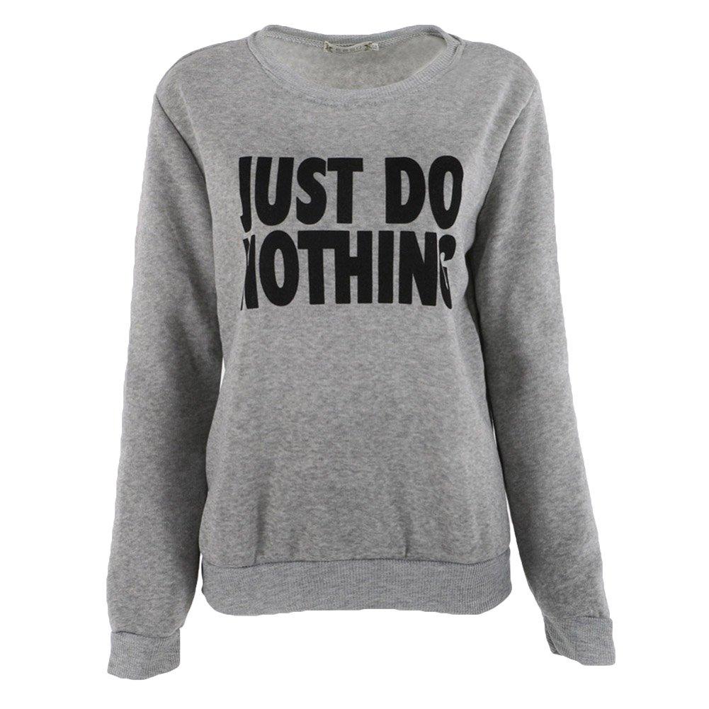 Donna Moda Pullover Caldo Autunno Inverno Felpe con Lettera Just Do Nothing Casual Loose Cappotto Maglione Jumper Top