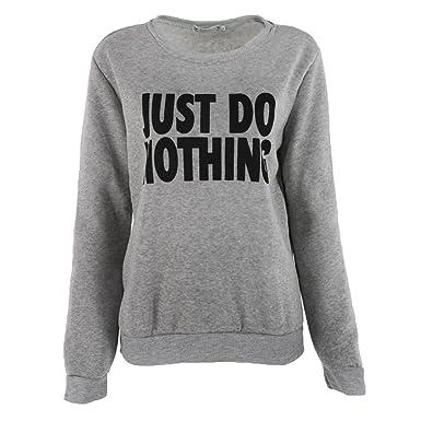 67881176ae6de Femme Sweat-Shirt à Manches Longues Mode   Just Do Nothing   Imprimée