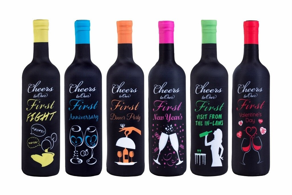 First Year of Marriage Milestones, Wine Bottle Covers - Bridal Gift - 6 Pack