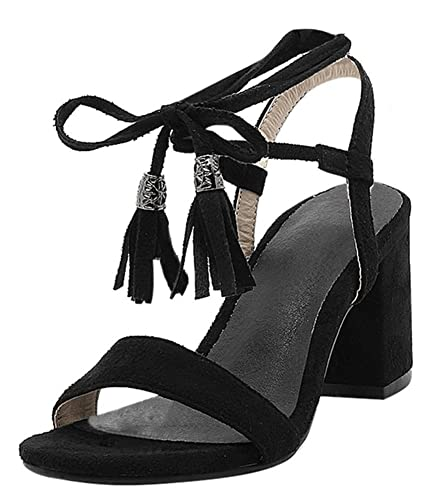 532881dc2 YE Women s Lace up Block Mid Heel Open Toe Sandals Ankle Tie Wrap Lace up  Strappy