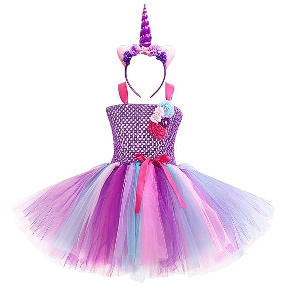 New front Unicornio Vestido de Niña y Diadema de Unicornio Disfraz ...