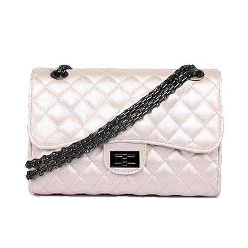 kissavi Klassische Kette Gesteppte Umhängetasche Leder Tasche mit Steppmuster Handtasche für Damen