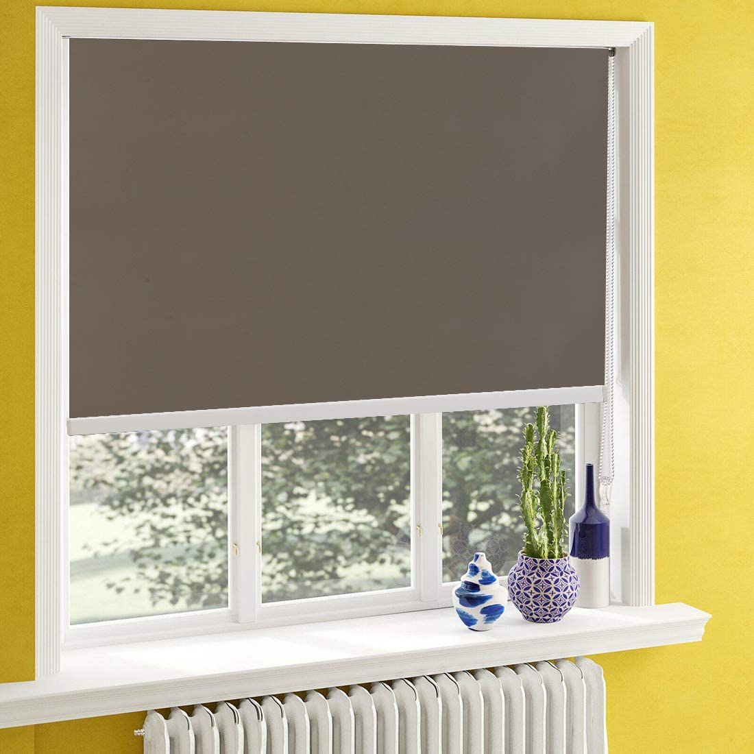 Keego Window Shades Black Out for Bedroom Room Darkening Roller Shades with Back in White Waterproof and Oil Resistant for Privacy Nursery and Kitchens Light Brown 100 Blackout,W70xH76 Inch