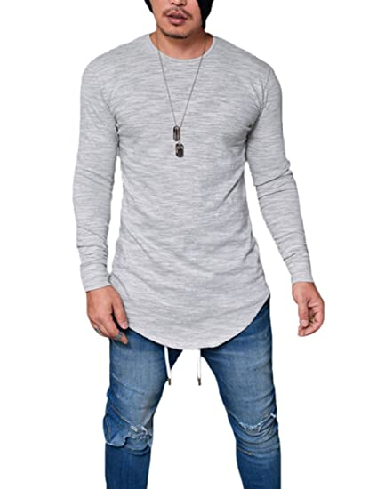 c79da0b8 XARAZA Men's Long Sleeve Slim Fit Thin T-Shirt Round Neck Breathable Summer  Blouse (