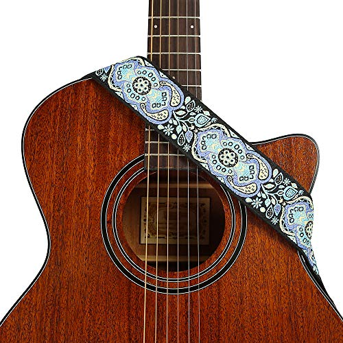 Heele Music 2.0'' Embroidery Guitar Strap With Genuine Leather Ends For Electric Guitar, Acoustic Guitar, Ukulele And Bass 2' Soft Leather Guitar Strap