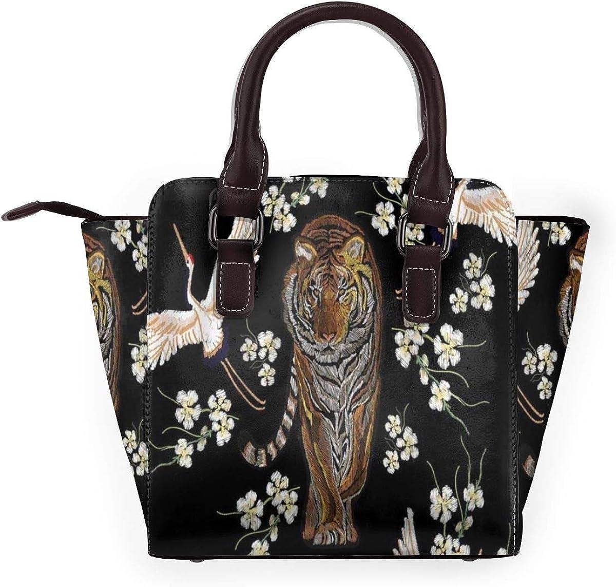 BROWCIN Tigre bel été tropical japonais fleurs grue oiseaux Sakura Détachable La mode Tendance Madame Sac à main Sac à bandoulière Cor1