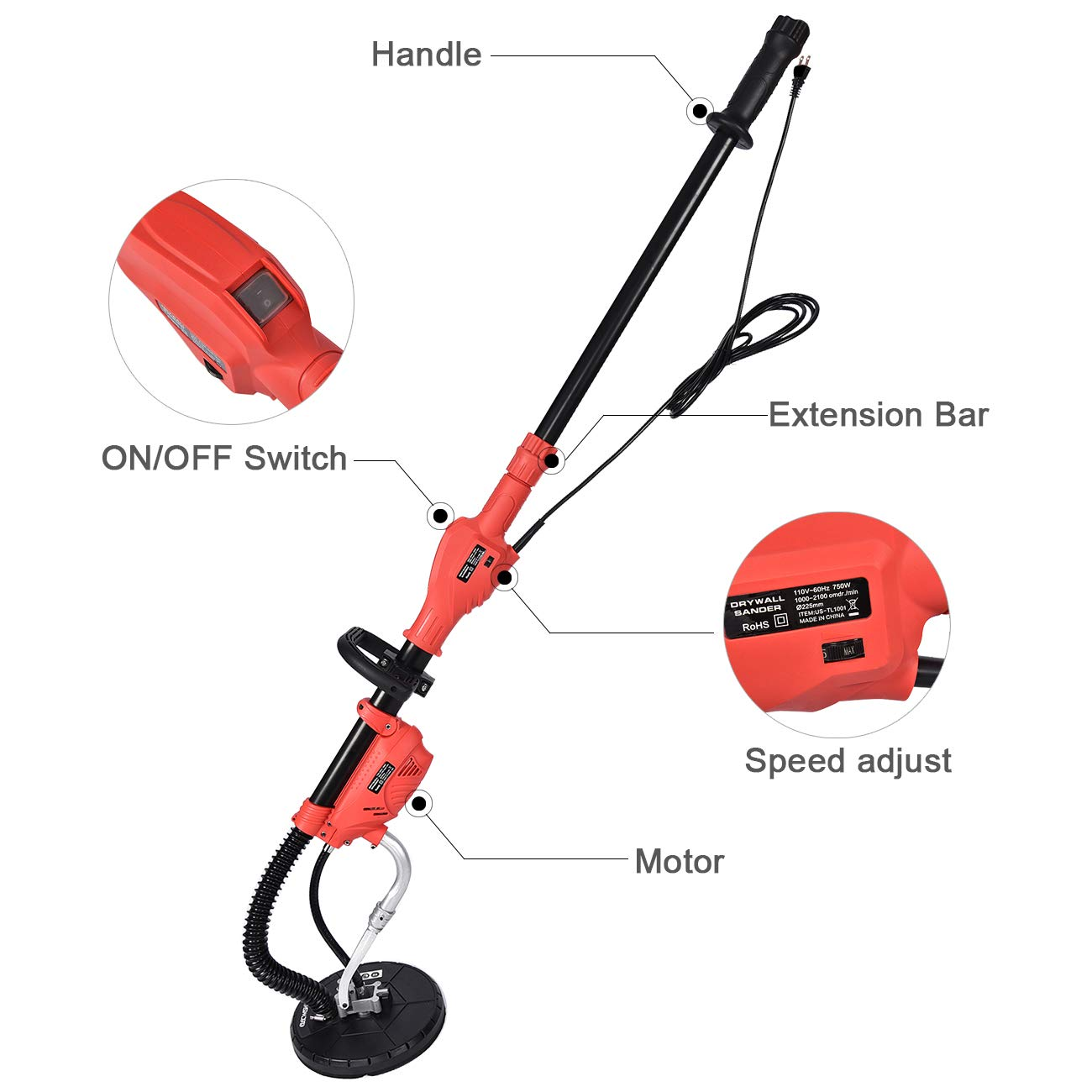 FULLWATT 750W Drywall Sander 6 Variable Speed Drywall Disc Sander w 6 Sand Pads Auto Dust Collection System Electric Sander for Drywall
