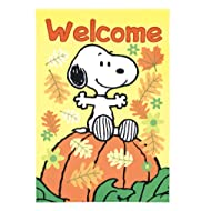 Peanuts Snoopy Welcome Garden Flag 12 Inch x 18 Inch Fall Leaves and Pumpkin Design