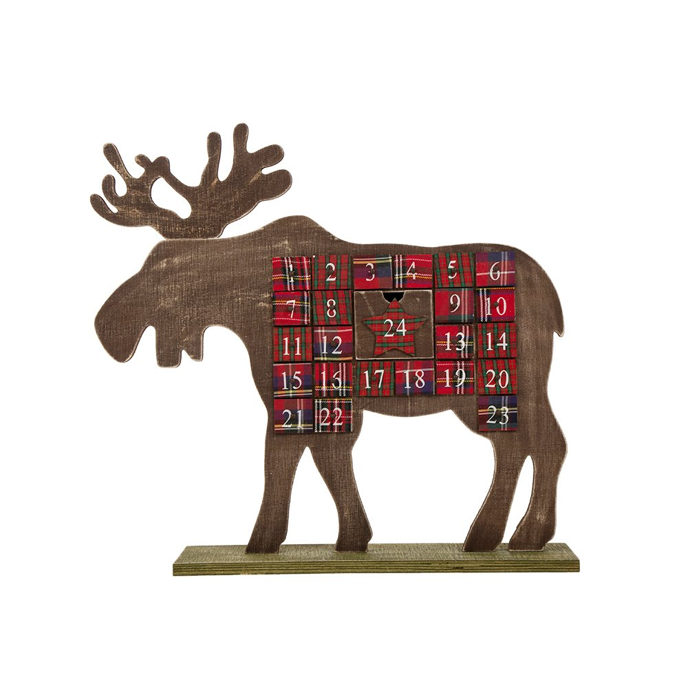 Glitzhome Christmas Reindeer Wooden Countdown, Advent Calendar with Drawer,
