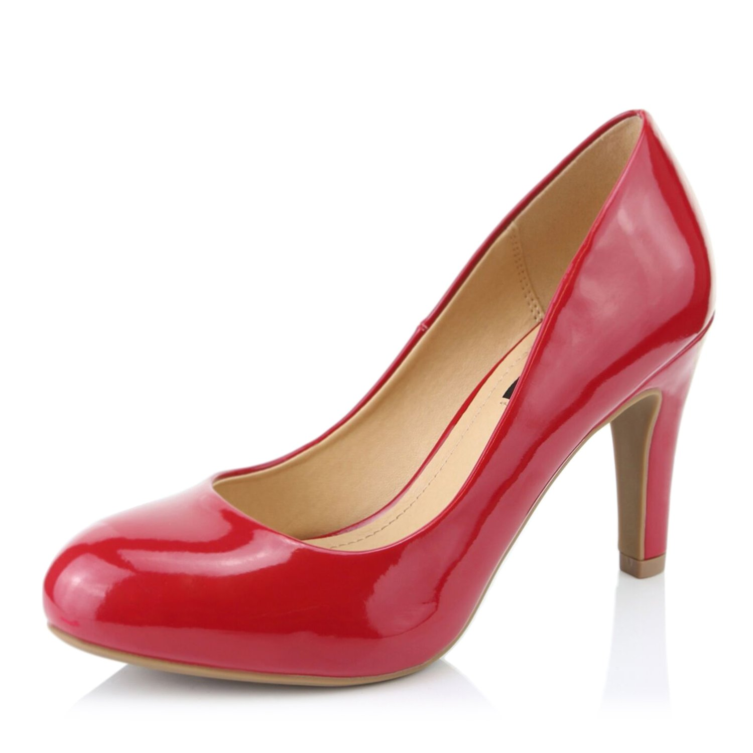 DailyShoes Women's Comfortable Cushioned Slip On Low Heels Round Toe Dress Pumps Shoes, Red Patent Leather, 10 B(M) US