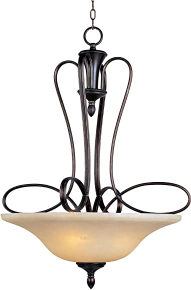 Maxim 21303WSOI Infinity 3-Light Pendant, Oil Rubbed Bronze Finish, Wilshire Glass, MB Incandescent Incandescent Bulb , 100W Max., Dry Safety Rating, Metal Shade Material, Rated Lumens