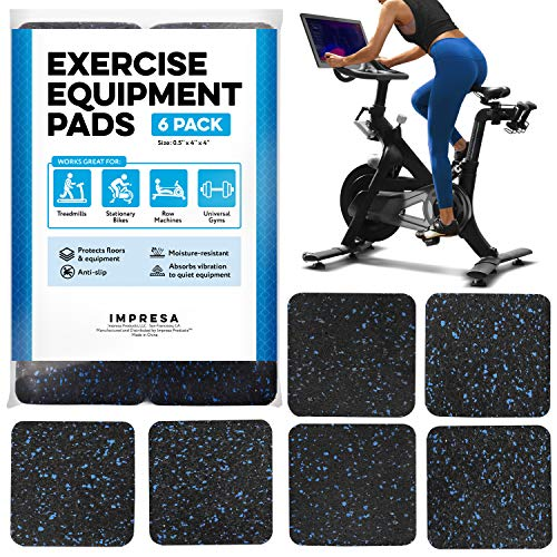 Exercise Equipment Mat 4″ x 4″ x 0.5″ Pads Pack of 6 – Treadmill Mat for Carpet Protection – Protective Anti-slip Treadmill Pad for Hardwood Floors & Carpets – Home Gym Accessories – Protect Floors