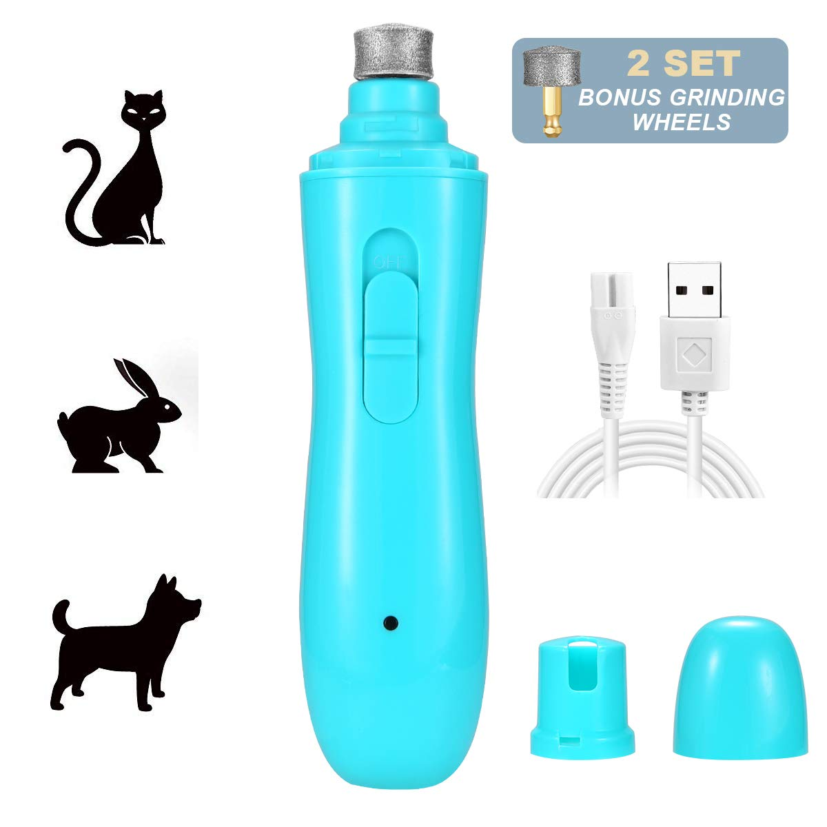 Waitley Pet Nail Grinder, [2019 Upgraded] 2 Speed Dog Nail Grinder Electric Paws Trimmer Rechargeable for Small Medium Dogs Cats - Gentle Painless Grooming, Trimming & Smoothing Kits