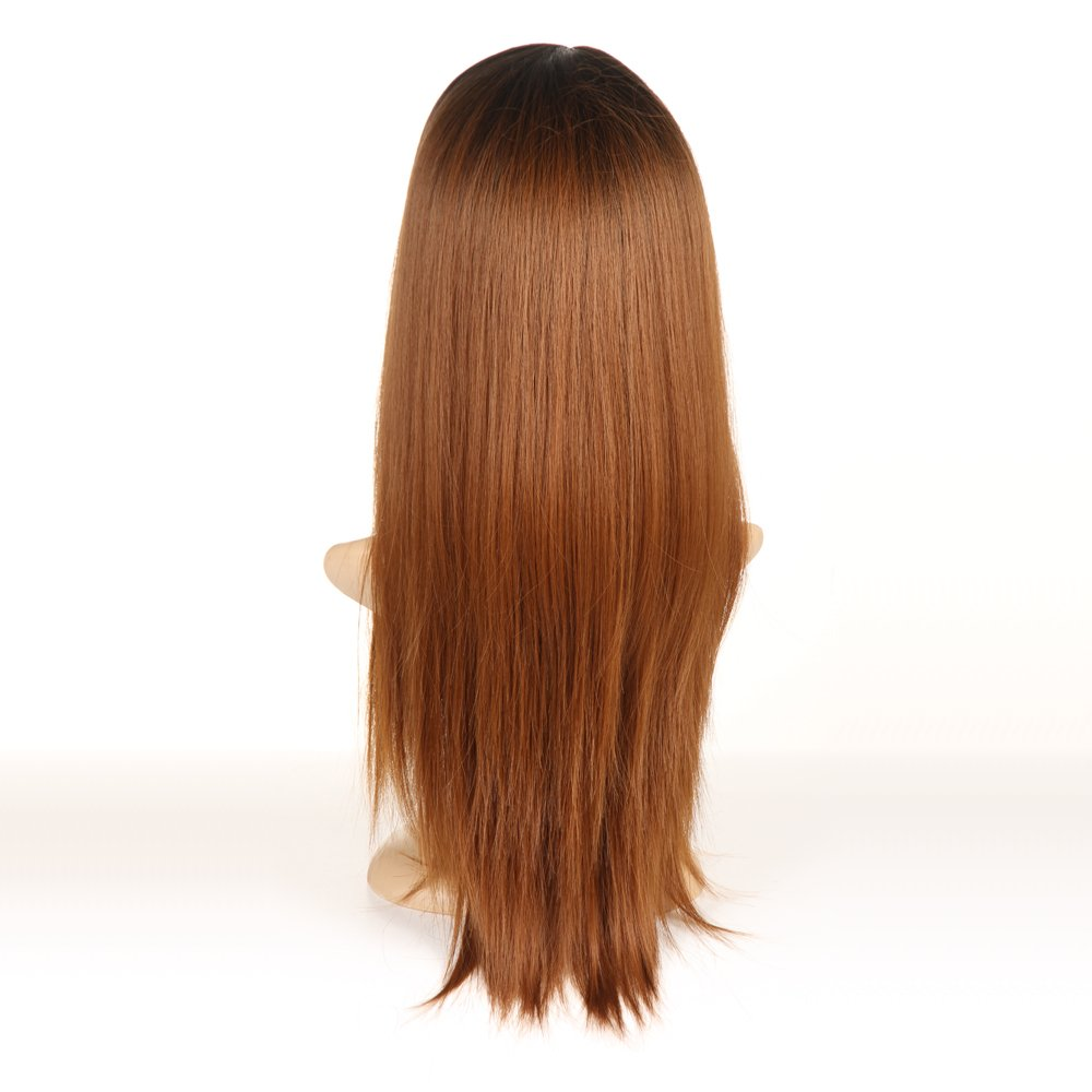 Brown Ombre Wigs For Women Long Straight Wigs Black Roots Wig by Ifolder (Image #4)