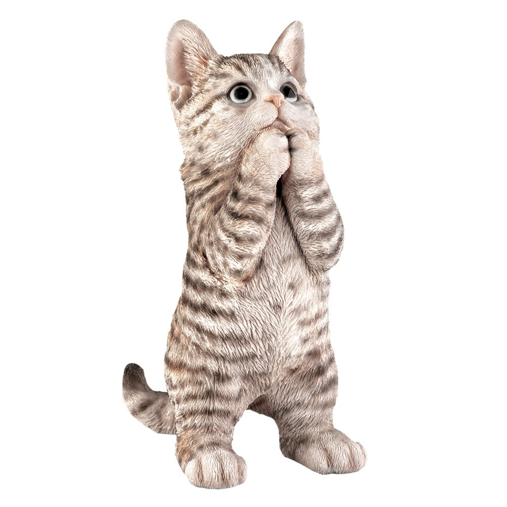 Collections Etc Cute Pet Praying Figurine Statue, Gray Tabby Cat