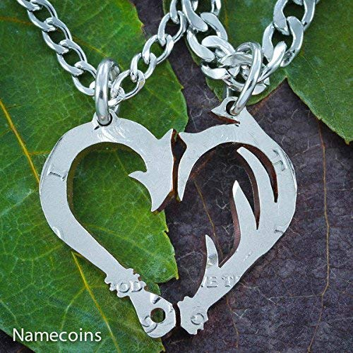 Fish Hook and Antler Making A Heart Necklace Set, Couples Jewelry, Hand Cut Coin, By NameCoins