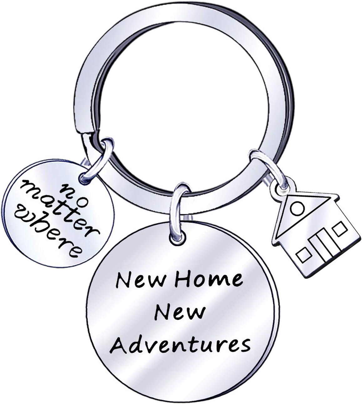 PRETYZOOM Nuova Casa Nuove Avventure Portachiavi Coppia Portachiavi Regalo di Inaugurazione della Casa Nuova Casa del Proprietario di Casa Portachiavi Prima Casa Presente per Marito Moglie