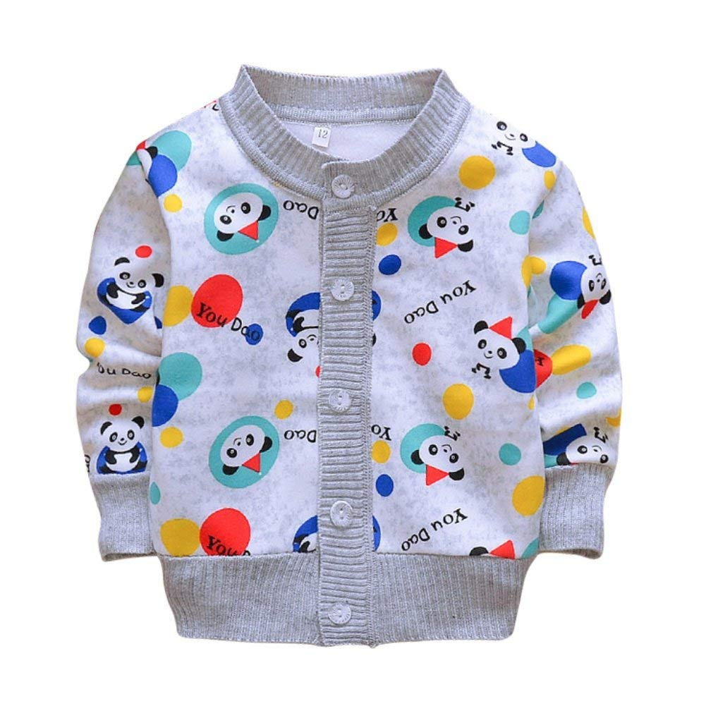Weixinbuy Toddler Baby Boy's Cartoon Car Soft Sweater Cardigan Outerwear Clothes